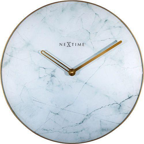 Zegar ścienny marble biały 40 cm (8189 wi) marki Nextime