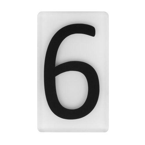 Cyfra 6/9 wys. 5 cm plexi czarna na białym tle