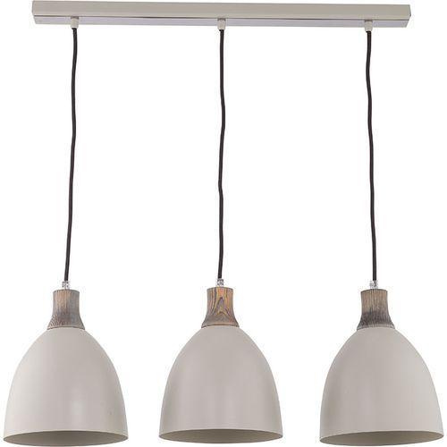 Lampa wisząca Sigma Leo 3 szara nad stół drewno