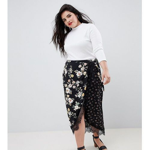 Asos curve Asos design curve mixed ditsy floral wrap midi skirt with lace trim - multi