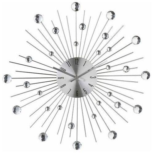 Atmosphera créateur d'intérieur Okrągły zegar ścienny, dekoracja nowoczesnych pomieszczeń, designerski zegar, kolor srebrny, z kryształami,