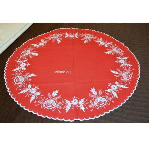 Haft kujawski - obrus ręcznie haftowany, czerwony śred. 68 cm (kz-3)