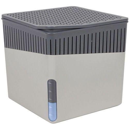 Wenko Pochłaniacz wilgoci cube, osuszacz powietrza na powierzchnię 40 m3, zapobiega rozwojowi pleśni, grzybów, wymienne wkłady 500 g, kolor szary, stylowy kształt, (4008838226865)