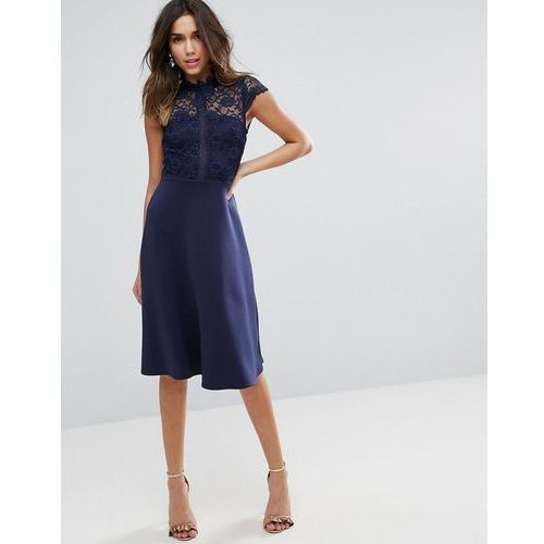 high neck midi skater dress with lace top - navy marki Asos