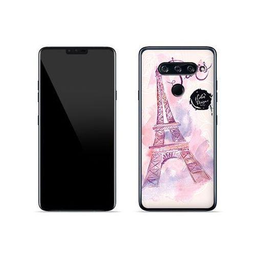 LG V40 ThinQ - etui na telefon Fantastic Case - różowa wieża eiffla, kolor różowy