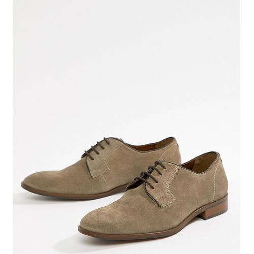 Dune wide fit lace up suede shoes in beige suede - beige