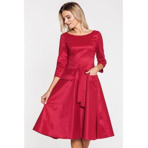 Wizytowa sukienka z czerwonej tafty - GaPa Fashion, kolor czerwony