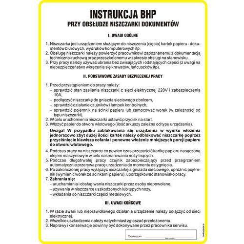 Instrukcja BHP przy obsłudze niszczarki dokumentów. Najniższe ceny, najlepsze promocje w sklepach, opinie.