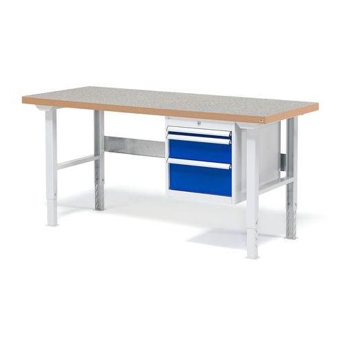 Stół warsztatowy solid, zestaw z 3 szufladami, 500 kg, 1500x800 mm, laminat marki Aj produkty