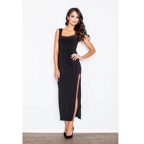 Czarna Wieczorowa Maxi Sukienka z Długim Rozporkiem, kolor czarny