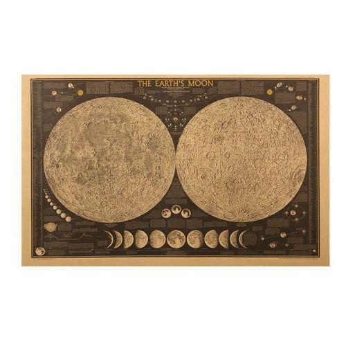 Nauticdecor Obraz mapa i fazy księżyca, earths moon chart, retro mapa nautyczna