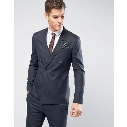 ASOS WEDDING Skinny Double Breasted Suit Jacket in Indigo Micro Texture - Navy