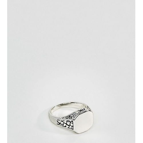 DesignB burnished silver signet pinkie ring exclusive to asos - Silver, kolor różowy
