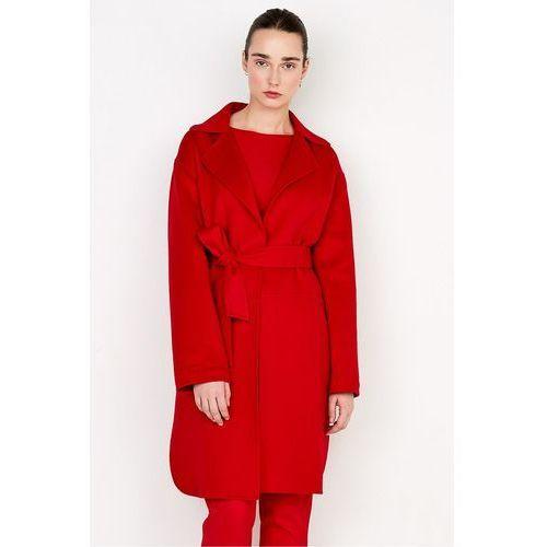 Patrizia aryton Czerwony płaszcz double face z wełny i kaszmiru -