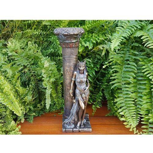 Veronese Egipska bogini bastet oparta o kolumnę - świecznik (wu76698a4)