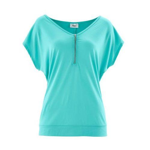 Bonprix T-shirt z zamkiem, krótki rękaw zielony oceaniczny