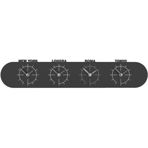 Zegar z czterema strefami czasowymi do biura singapore czarny (12-007-5) marki Calleadesign