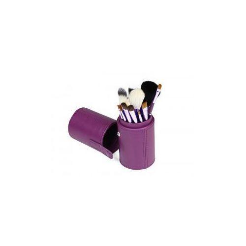 Vanity Pędzle do make up komplet 12 szt. pakowane w tubę kolor fioletowy