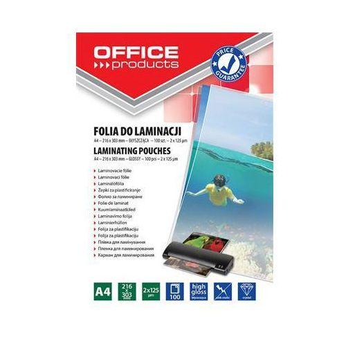 Folia do laminowania , a4, 2x125mikr., błyszcząca, 100szt., transparentna marki Office products
