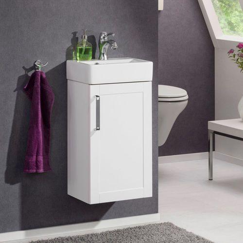 Szafka łazienkowa delta o szerokości 37,5 cm z ceramiczną umywalką marki Badmobil by fackelmann