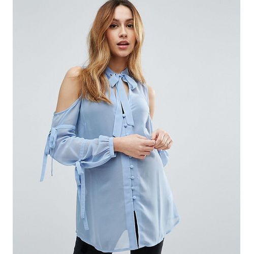 ASOS Maternity Pussy Bow Blouse with Cold Shoulder and Tie Sleeve - Blue