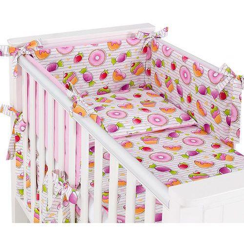MAMO-TATO dwustronna rozbieralna pościel 3-el Babeczki / róż do łóżeczka 70x140cm, kolor różowy