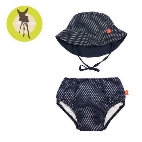 zestaw kapelusz i majteczki do pływania z wkładką chłonną polka dots navy uv 50+ marki Lassig