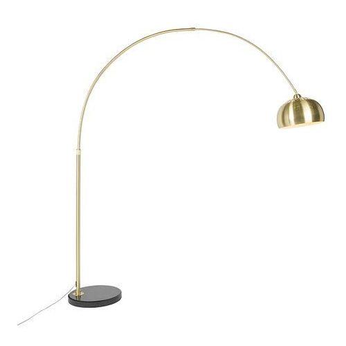 Klasyczna lampa podlogowa luk matowy mosiadz marmurowa podstawa - marbello marki Qazqa