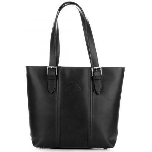 klasyczne torebki damskie ze skóry licowej czarne (kolory) marki Vittoria gotti