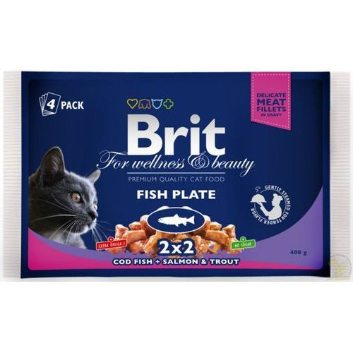 Brit Premium Cat Adult Fish Plate - Multipack saszetek rybnych dla kota 4x100g (8595602506248)