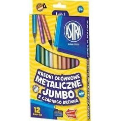Astra Kredki ołówkowe metaliczne jumbo z czarnego drewna 12 kolorów