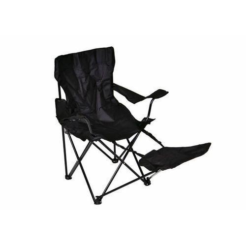 Turystyczne kampingowe krzesło składane Garth z podnóżkiem czarne z miejscem na napoje