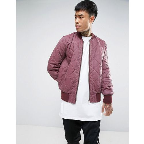 ASOS Relaxed Bomber Jacket With Quilt Detail in Washed Burgundy - Red, kolor czerwony