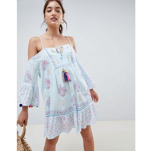 crinkle cold shoulder printed beach dress with pom pom sleeve trim - blue, South beach, S-L
