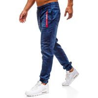 Spodnie jeansowe joggery męskie granatowe Denley Y257A, kolor niebieski