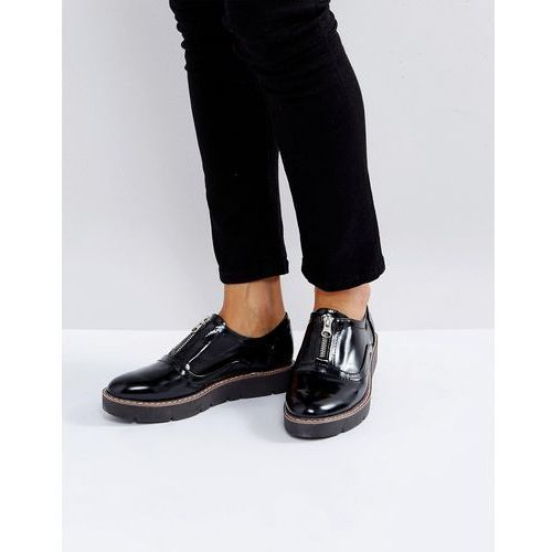 zip front flatform shoe - black, London rebel