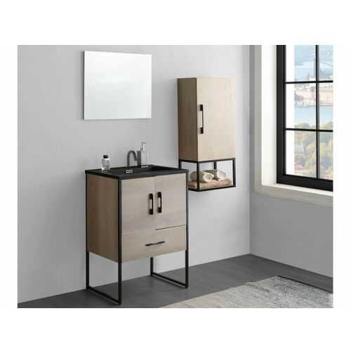 Shower design Zestaw mebli łazienkowych phena – szafka pod umywalkę i umywalka, lustro, wysoka szafka – drewnopodobny