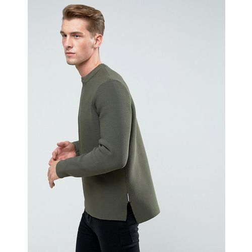 Bellfield structured knit with raw hems - green