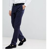 Heart & dagger slim stretch suit trousers in tweed check - navy