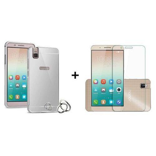 Zestaw   Mirror Bumper Metal Case Srebrny + Szkło ochronne Perfect Glass   Etui dla Huawei Honor 7i / Shot X - produkt z kategorii- Futerały i pokrowce do telefonów