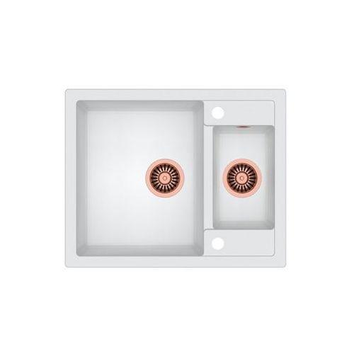 Zlew granitowy z miedzianym syfonem morgan 150 - biały marki Quadron