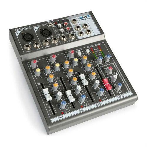 vmm-f401 4-kanałowy mikser odtwarzacz usb aux-in +48v zasilanie phantom marki Vonyx