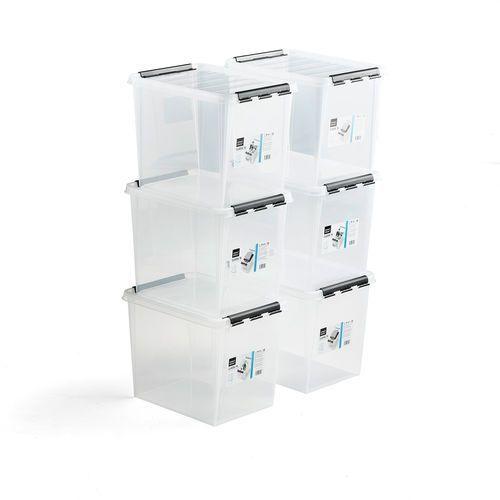 Pojemnik plastikowy lee z pokrywą, 25 l, 6 szt., 400x300x320 mm, przezroczysty marki Aj produkty
