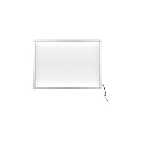 Gablota z oświetleniem LED suchościeralno-magnetyczna 138x68 (12xA4) z drzwiczkami przesuwnymi
