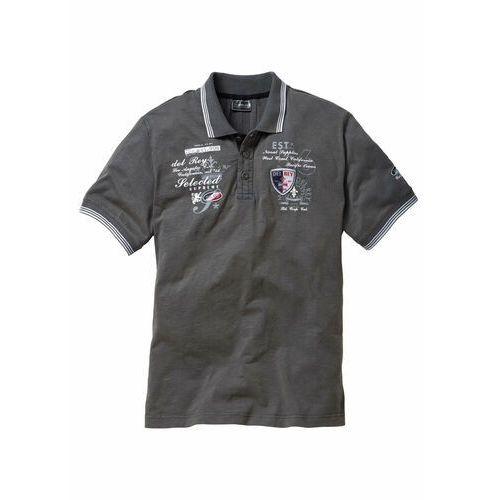 Shirt polo z efektownym zdobieniem bonprix szary, kolor szary