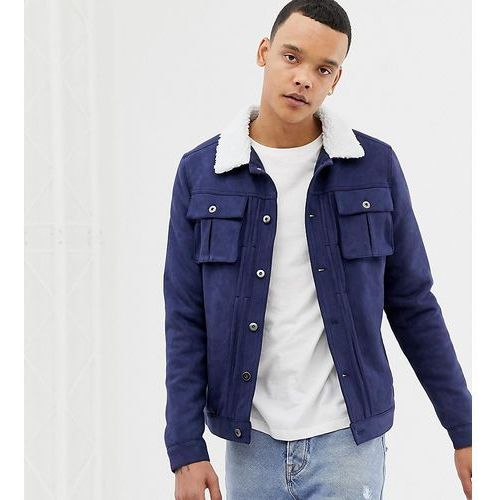 tall faux suede jacket with borg collar - navy, Another influence