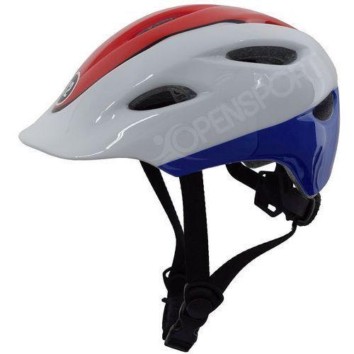 Dziecięcy kask rowerowy infano xs 48-52cm czerwony / biały / niebieski marki Kross