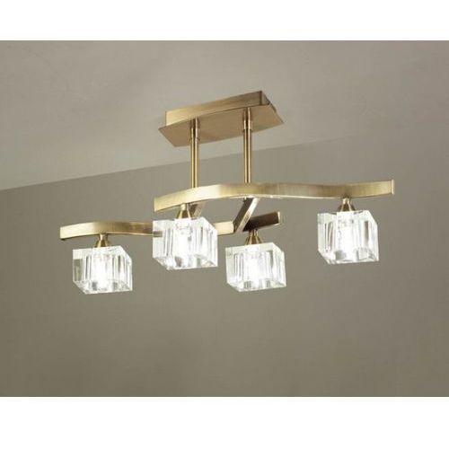 lampa sufitowa CUADRAX 4L antyczny mosiądz i szkło optyczne, MANTRA 1107