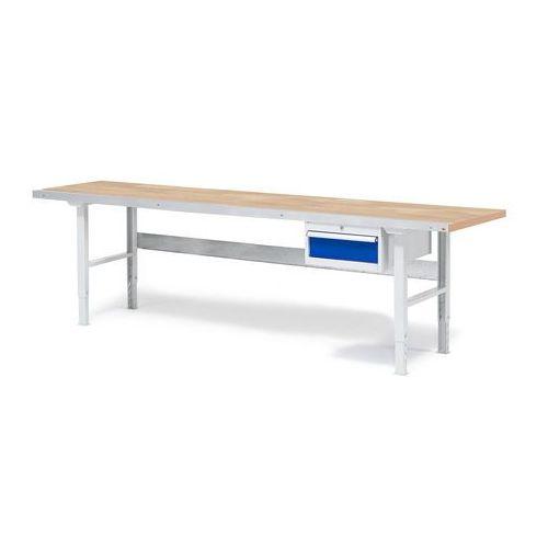 Stół warsztatowy SOLID, z szufladą, 750 kg, 2500x800 mm, dąb