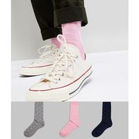 textured socks in basket weave 3 pack - multi marki Asos design